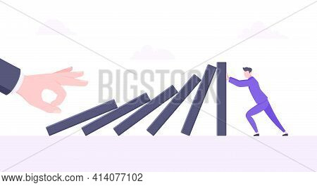 Business Resilience Or Domino Effect Metaphor Vector Illustration.