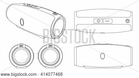 Portable Acoustics Or Mobile Speaker Blueprint Or Scheme For Music With Perspective. Modern Party Or