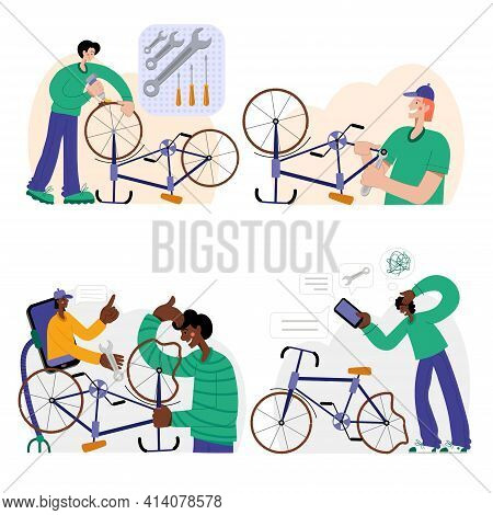 Bicycle Repair. Web Graphics, Banners, Advertisements, Business Templates.