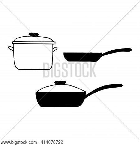 Kitchen Utensils Pan, Frying Pan Set Icon. Hand Drawn Doodle Style. Vector, Minimalism, Monochrome,
