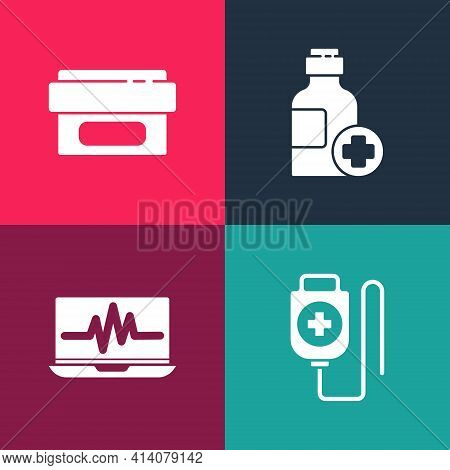 Set Pop Art Iv Bag, Laptop With Cardiogram, Bottle Of Medicine Syrup And Ointment Cream Tube Icon. V