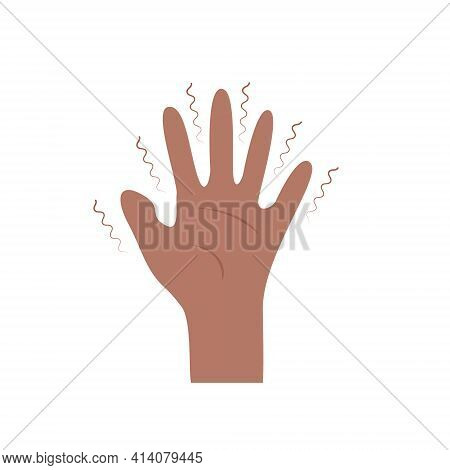 Black African American Hand With Tremor Syndrome. Parkinson Disease. Trembling, Shivering Arms. Phys
