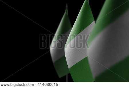Small National Flags Of The Nigeria On A Black Background