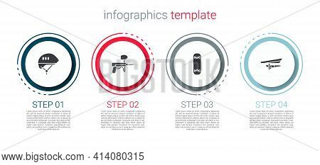 Set Bicycle Helmet, Paintball Gun, Skateboard Trick And Hang Glider. Business Infographic Template.