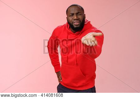 Displeased African-american Man Scolding Friend Acting Bad Asking What Doing Life Pointing Camera Pa
