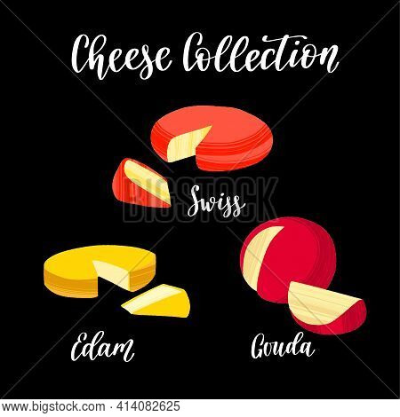 Cheese Collection. Different Kinds Of Cheeses. Swiss, Edam And Gouda.