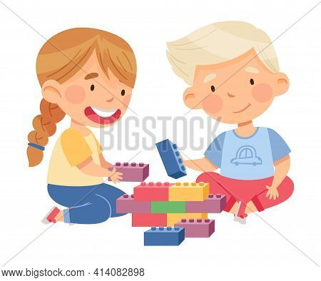 Cute Boy And Girl Sitting On The Floor And Playing Construction Toy In Kindergarden Vector Illustrat