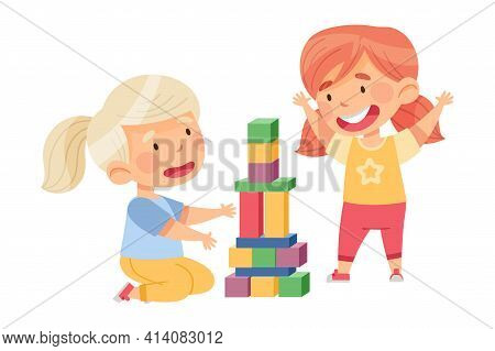Cute Girls Sitting On The Floor And Playing Construction Toy In Kindergarden Vector Illustration