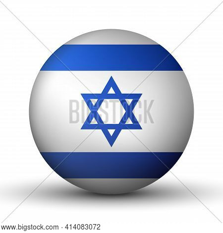 Glass Light Ball With Flag Of Israel. Round Sphere, Template Icon. Israeli National Symbol. Glossy R