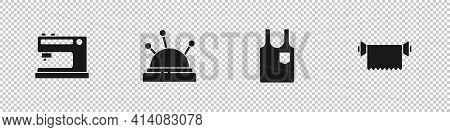Set Sewing Machine, Needle Bed And Needles, Sleeveless T-shirt And Textile Fabric Roll Icon. Vector