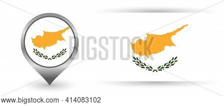 Vector Flag Cyprus. Location Point With Flag Cyprus Inside.
