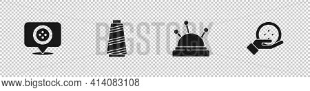 Set Location Tailor Shop, Sewing Thread, Needle Bed And Needles And Button Icon. Vector