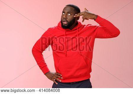 Guy Showing Finger Pistol Near Head Wanna Shoot Himself Boredom Annoyance Acting Ignorant Roll Eyeli