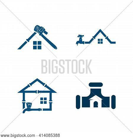 Set Of House Plumbing Logo Design Vector Illustration, Creative Plumbing Logo Design Concept Templat