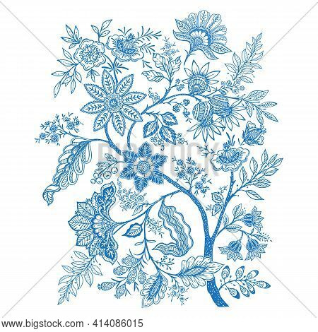 Set Of Pattern Elements With Stylized Ornamental Flowers In Retro, Vintage Style. Jacobin Embroidery