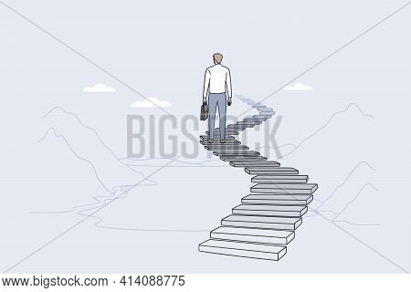 Success, Leadership, Achieving Goal Concept. Back Of Businessman Standing On Ladder Forward And Look