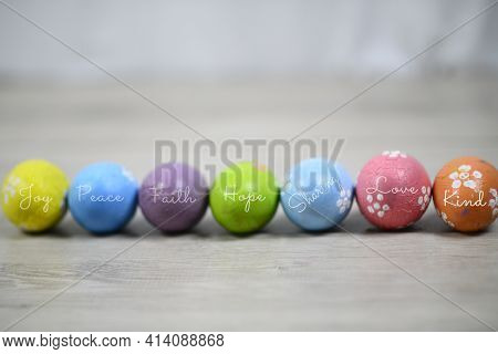 Easter Eggs. Easter Backgrounds With Eggs. Soft Bright And Colorful Easter Eggs Lined Up Horizontall