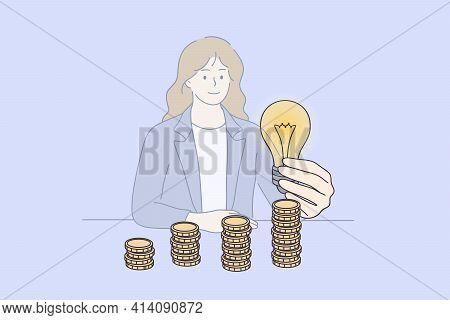 Saving Energy And Money Concept. Young Smiling Businesswoman Cartoon Character Sitting At Desk Holdi