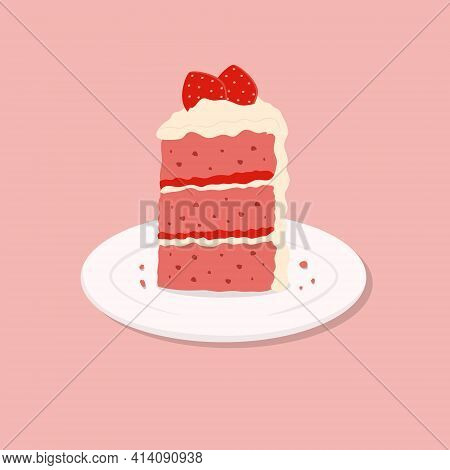 Colorful Sweet Cake Slice. A Piece Of Cake For Happy Birthday, Weddings, Celebrations, Greeting, Val
