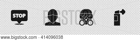 Set Protest, Vandal, Gas Mask And Pepper Spray Icon. Vector