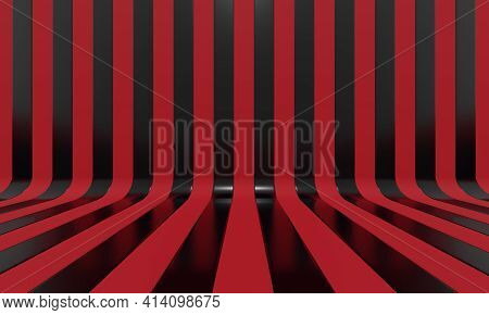 Realistic abstract geometric background with black and red convergence stripes with shadows and glares. 3d rendering