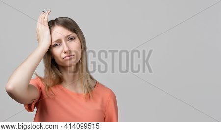 Concerned, Frustrated Young Blond Girl Feeling Fatigue, As Suffer Pain In Head, Painful Headache Or