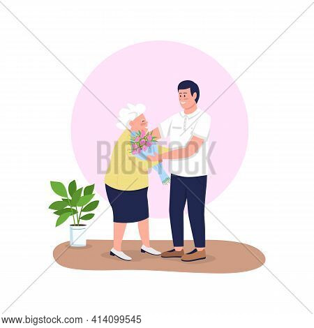 Grandson Giving Grandmother Flowers Flat Color Vector Detailed Characters