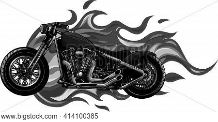 Design Of Burning Motorcycle Engulfed In Fierce Fiery Flames And Fire Exploding Sparks