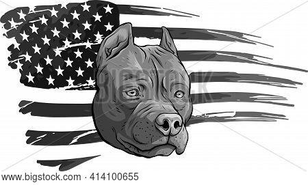 Design Of Head Pitbull With American Flag Vector Illustration