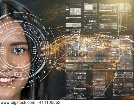 Asian Women Being Futuristic Vision Over The Part Of Earth Particle, Digital Technology Screen Over