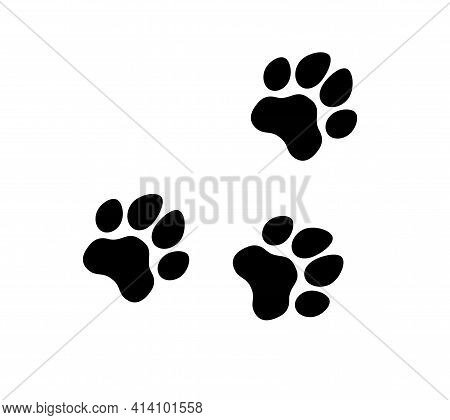 Dog, Puppy, Cat Paw Silhouette. Icons Set. Tags. I Love My Dog. Dog Mom.