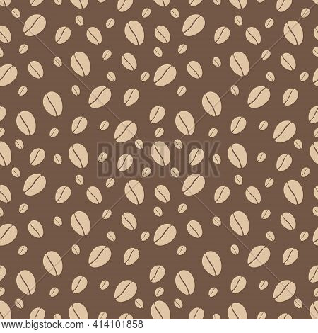 Vector Coffee Pattern. Coffee Beans Seamless Pattern. Simple Coffee Pattern On A White Background.