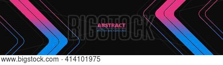 Black Abstract Wide Horizontal Banner With Blue And Pink Lines, Arrows And Angles. Dark Modern Brigh