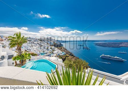 October.17.2019: Fira, Oia, Santorini - Luxury Travel Vacation Landscape With Infinity Pool, Swimmin