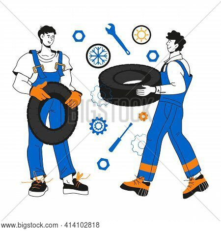 Auto Mechanic Male Characters With Wheels, Cartoon Vector Illustration Isolated On White Background.