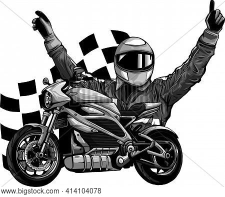 Design Of Motorbike Rider With Face Flag Vector Illustration