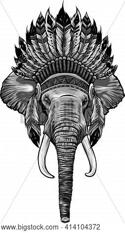 Design Of Elephant Head With American Indian Chief Headdress.