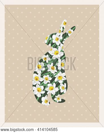 Silhouette Of Easter Bunny With Daffodil Flowers On Light Background
