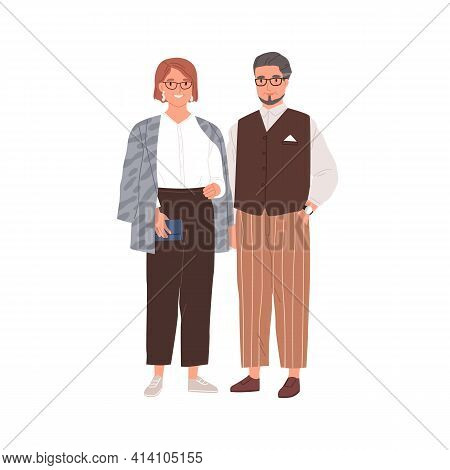 Senior Couple Of Modern Man And Woman In Eyewear. Portrait Of Happy Elderly People In Stylish Casual