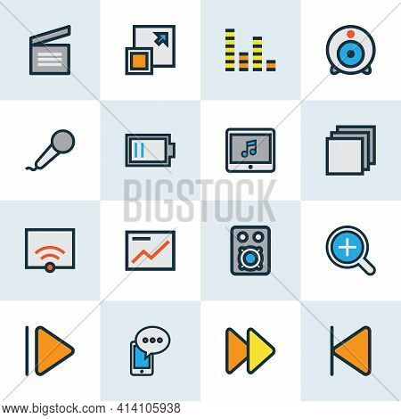 Multimedia Icons Colored Line Set With Web Cam, Upward, Low Battery And Other Microphone Elements. I