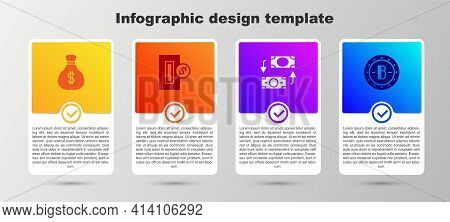 Set Money Bag, Inserting Coin, Exchange And Bitcoin. Business Infographic Template. Vector