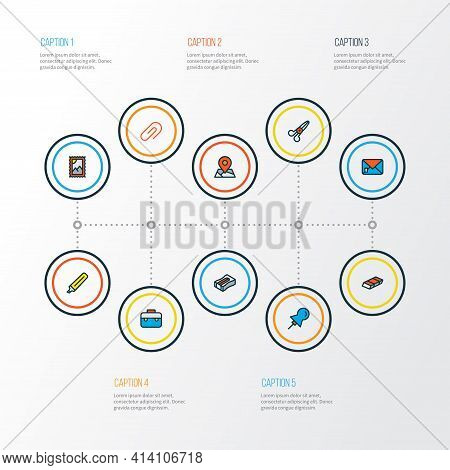 Tool Icons Colored Line Set With Pin, Post Stamp, Eraser And Other Postmark Elements. Isolated Vecto