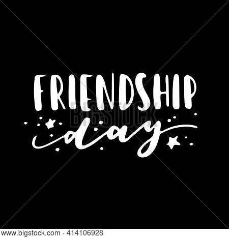 Happy Friendship Day Cute Hand Lettering. Best Friends Forever. Greeting Card Typography Template. M