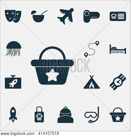 Trip Icons Set With Wristwatch, Camcorder, Beach Bag And Other Destination Elements. Isolated Vector