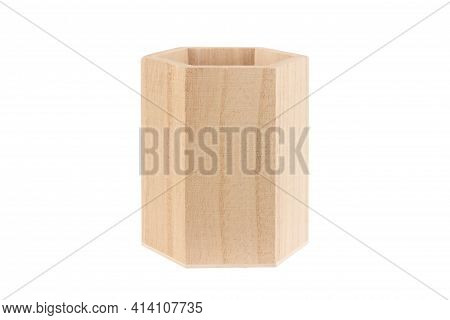 Front View Closeup Of Empty Wooden Hexagonal Pencil Desk Holder Isolated On White Background