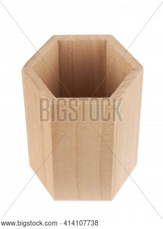 Top View Closeup Of Empty Wooden Hexagonal Pencil Desk Holder Isolated On White Background