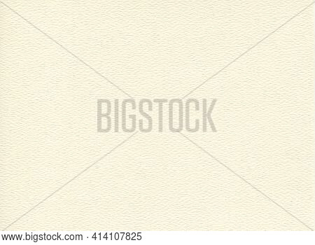 Horizontal Front View Of Empty Flat White Cream Colored Paper Texture With Embossed Ornament