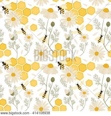 Seamless Pattern With Bees. Vector Hand Draw Illustration.