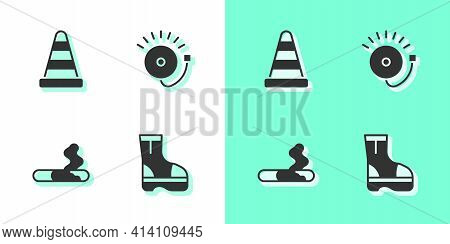 Set Fire Boots, Traffic Cone, Cigarette And Ringing Alarm Bell Icon. Vector
