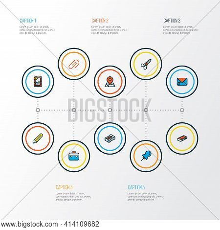 Tool Icons Colored Line Set With Pin, Post Stamp, Eraser And Other Postmark Elements. Isolated Illus